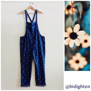 NWT Blue Jean Denim Overalls Floral Embroidery